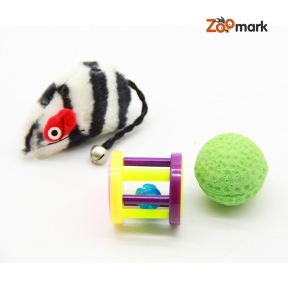 Набор игрушек для кошек мышь, сетчатый мяч и барабан