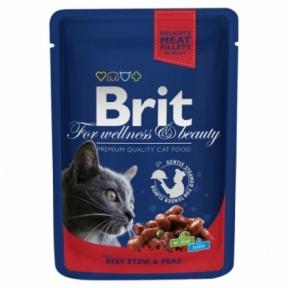 Brit Premium Cat pouch с тушеной говядиной и горошком 100г