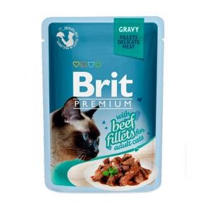 Brit Premium Cat pouch филе говядины в соусе 85г