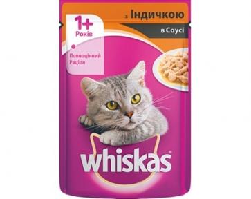 Вискас консервы для котов индейка в соусе 100 г