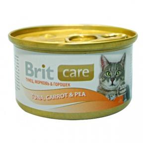 Brit Care Cat с тунцом, морковью и горохом 80г