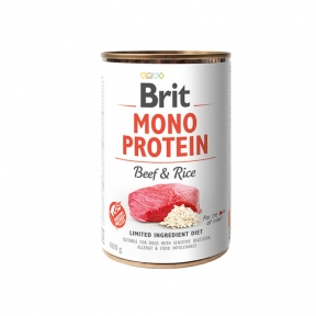 Brit Mono Protein Dog с говядиной и тёмным рисом 400г