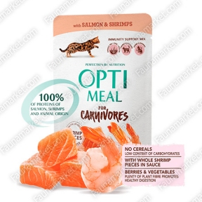 Optimeal c лососем и креветками для котов