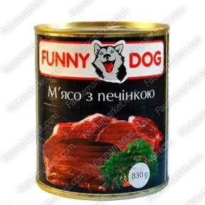 FUNNY DOG с мясом и печенью 830г