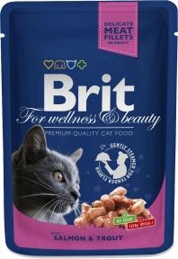Brit Premium Cat pouch с лососем и форелью 100г