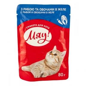 Мяу Консервы для котов Рыба и овощи в желе 80 г 906879
