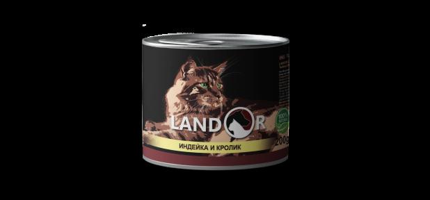 Landor консерва для кошек индейка с кролем 200 г 539039