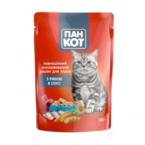 Пан-кот консервы для кошек рыба в соусе 100г ПАУЧ